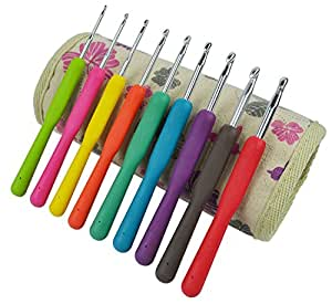 Crochet Hooks - Haven for Hands Crochet Hook Set has Ergonomic Crocheting Needles with US and Metric sizes - Cloth Case - Zipper Pocket - Scissors and Supplies - Create with Yarn Today! (Multi)