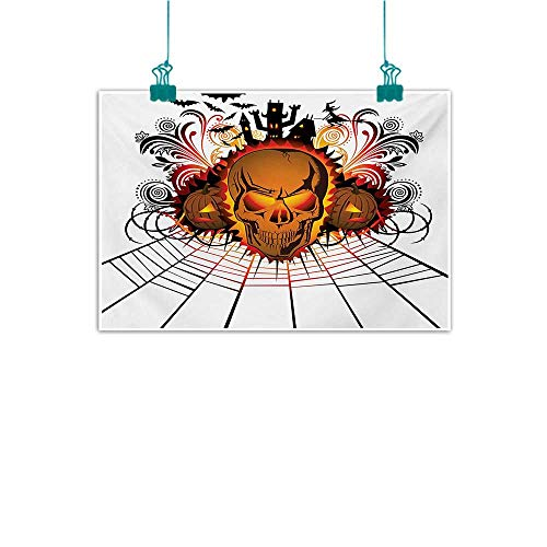 Mdxizc Chinese Classical Oil Painting Halloween Angry Skull Face on Bonfire Spirits of Other World Concept Bats Spider Web Design Canvas Prints for Home Decorations W35 xL31 Multicolor -