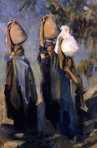 Woman Carrying Water Jar (John Singer Sargent Bedouin Women Carrying Water Jars - 18.1