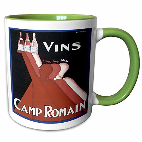(3dRose BLN Vitage Wine, Beer and Spirits Advertising Posters - Vintage Vins Camp Ormain Rouge Rose Blanc Wine Advertising Poster - 15oz Two-Tone Green Mug (mug_129927_12))