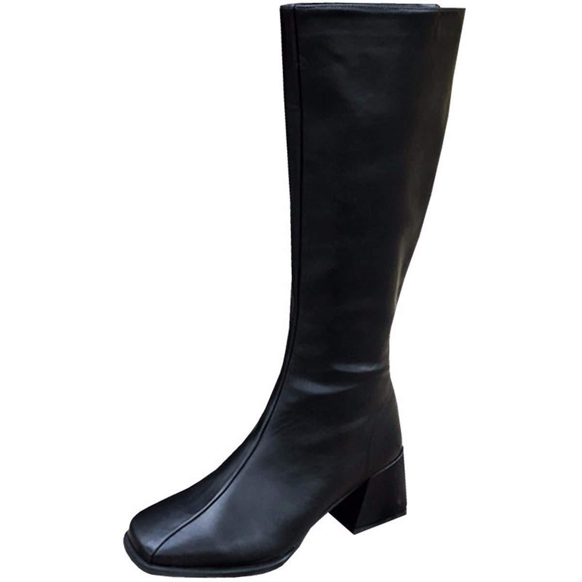 LBTSQ Fashion Damenschuhe Retro Slim Absatz 6 cm Hoch Stiefel Am Kopf Reißverschluss Dicke Sohle Stiefel Samt Ritter - Flut