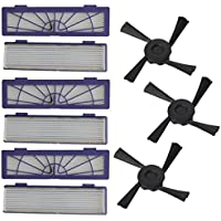 Kemilove 6PC Filter + 3PC Side Brushes Replacement for Neato Botvac 70e 75 80 85