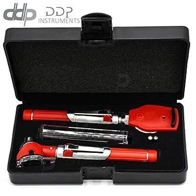 DDP Premium Fiber Optic Otoscope Ophthalmo Examination Led Diagnos ENT Red Color