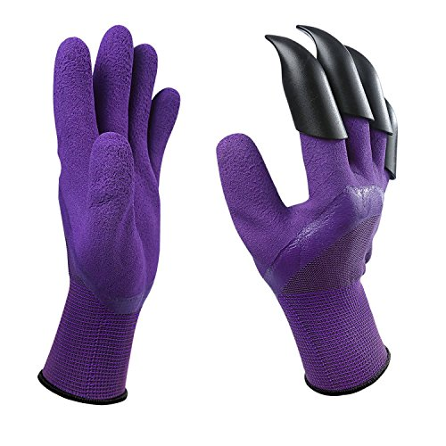 Claws Gloves Gardening Tools- 1Pair with 4 Fingertips Claws Quick & Easy to Dig and Plant Safe for Rose Pruning, Digging & Planting Nursery Plants,Best Gift Gardening Tool (Purple) -