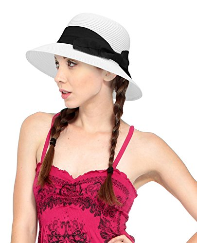 Livingston Womens Wide-Brim Plaited Straw Sunhat with Large Decorative Bow