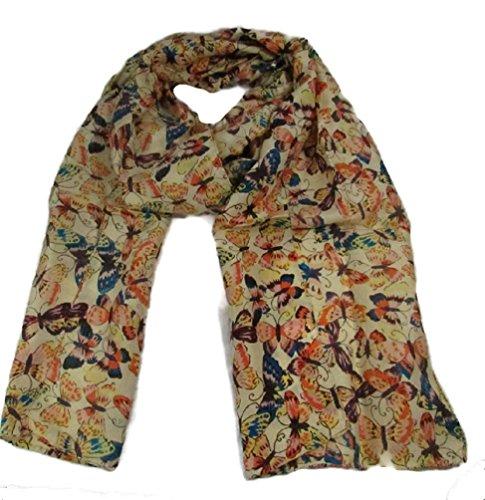 Trade Fashion Fair (100% Pure Hand Woven Indian Silk Scarf Women's Fashion Eco Friendly Fair Trade (Beige Butterfly, 69