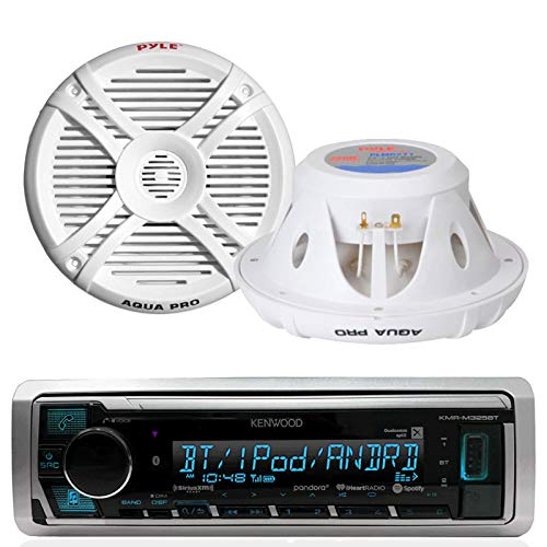 Marine Receiver  Speaker Bundle: Kenwood Marine Media Receiver with Bluetooth and USB, Pyle Aqua Pro Marine 7.7