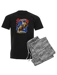 Royal Lion Men's Dark Pajamas Cowboy Riding Bull With Lightning