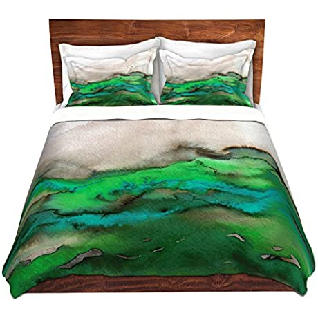 DiaNoche Designs Winter Waves Green Cover Brushed Twill Twin Queen 8 King Duvet Sham Set