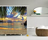 Ambesonne Seaside Decor Collection, Sunset at Beach Rumbling Ocean Luxurious Resort with Palm Trees Travel Locations Picture, Polyester Fabric Bathroom Shower Curtain, Ivory Green