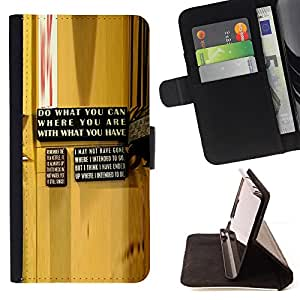 DEVIL CASE - FOR HTC DESIRE 816 - Yellow Abstract Message Wood Grain - Style PU Leather Case Wallet Flip Stand Flap Closure Cover
