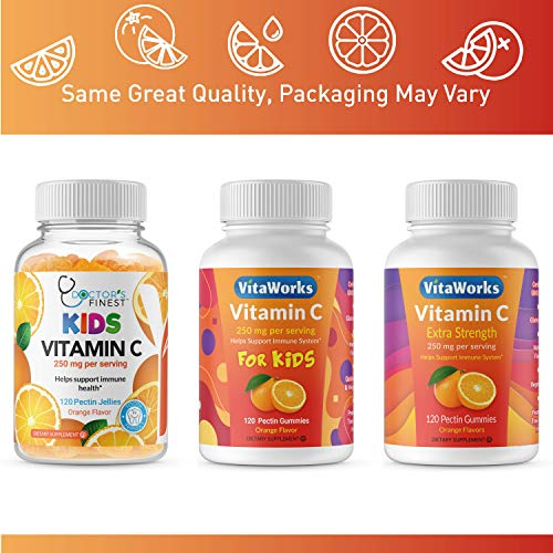 Doctors Finest Vitamin C Gummies for Kids – Vegan, GMO Free & Gluten Free – Great Tasting Orange Flavor Pectin Chews – Kids Dietary Supplement – 250 mg of Vitamin C – 120 Jellies [60 Doses]