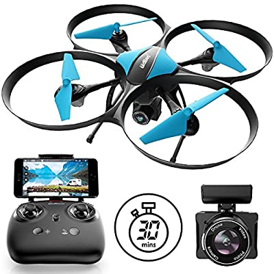 U49W Drone with Camera Live Video - Blue Heron Drone with 2 WiFi FPV Drone Batteries for Drones with Camera by Force1
