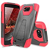 LG X Venture Case, LG X Calibur Case, LG V9 Case, TJS Dual Layer Hybrid Shock Absorbing Impact Resist Rugged Case Cover with Kickstand Silicone Inner Layer For LG X Venture/X Calibur/V9 (Red/Black)