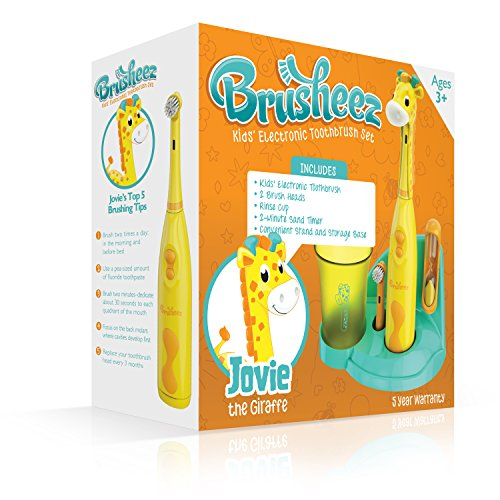Brusheez Children's Electronic Toothbrush Set – Includes Battery-Powered Toothbrush, 2 Brush Heads, Cute Animal Head Cover, 2-Minute Sand Timer, Rinse Cup, and Storage Base – Jovie the Giraffe