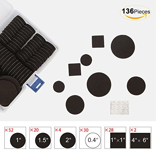 Furniture Pads 136 Pieces Pack Self Adhesive Felt Pads Brown Felt Furniture Pads Anti Scratch Floor Protectors for Chair Legs Feet with Case and 30 Rubber Bumpers for Hardwood Tile Wood Floor by FurniMate (Image #2)