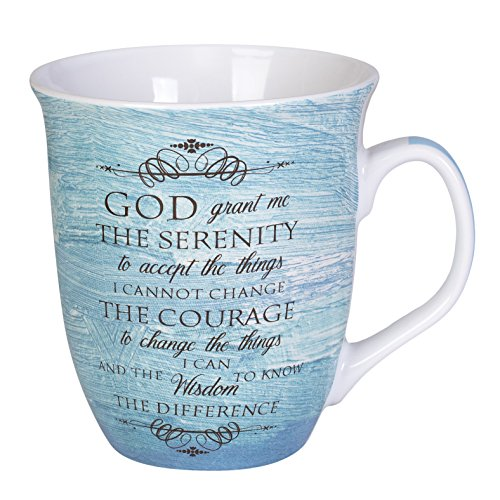 Serenity Prayer Mug - Serenity Prayer Teal Blue 16 Ounce Ceramic Stoneware Coffee Mug