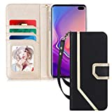Samsung Galaxy S10e 5.8 inch Case, Toplive Premium PU Leather Galaxy S10e Wallet Case with [Makeup Mirror] and Hand Strap for Samsung Galaxy S10e (5.8'),Black