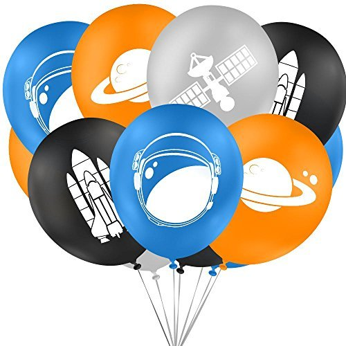Outer space party balloons, decorations and supplies for themed favors bags. (16 Piece Value Pack) Premium 12'' size. Great for children's birthday parties, charity events or the school classroom.