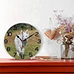 "Wall Clock Swiss Shepherd Dog White Training Outdoor Round Acrylic Clock Black Large Numbers Silent Non-Ticking 9.45"" Clock Decorative Painting Battery Operated Clock for Home School Hotel Library 4"