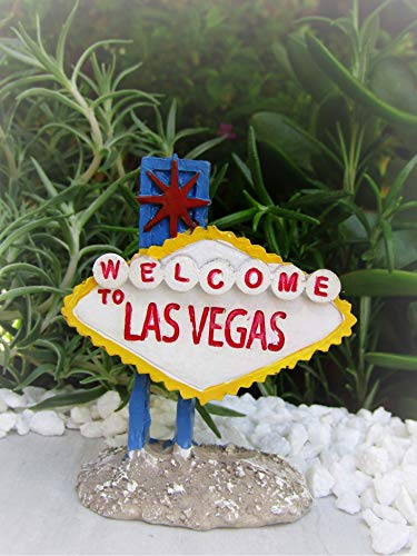 Dollhouse Welcome to Las Vegas Strip Sign New - Miniature Magic Scene Supplies for Your Fairy Garden - Outdoor and House Decor