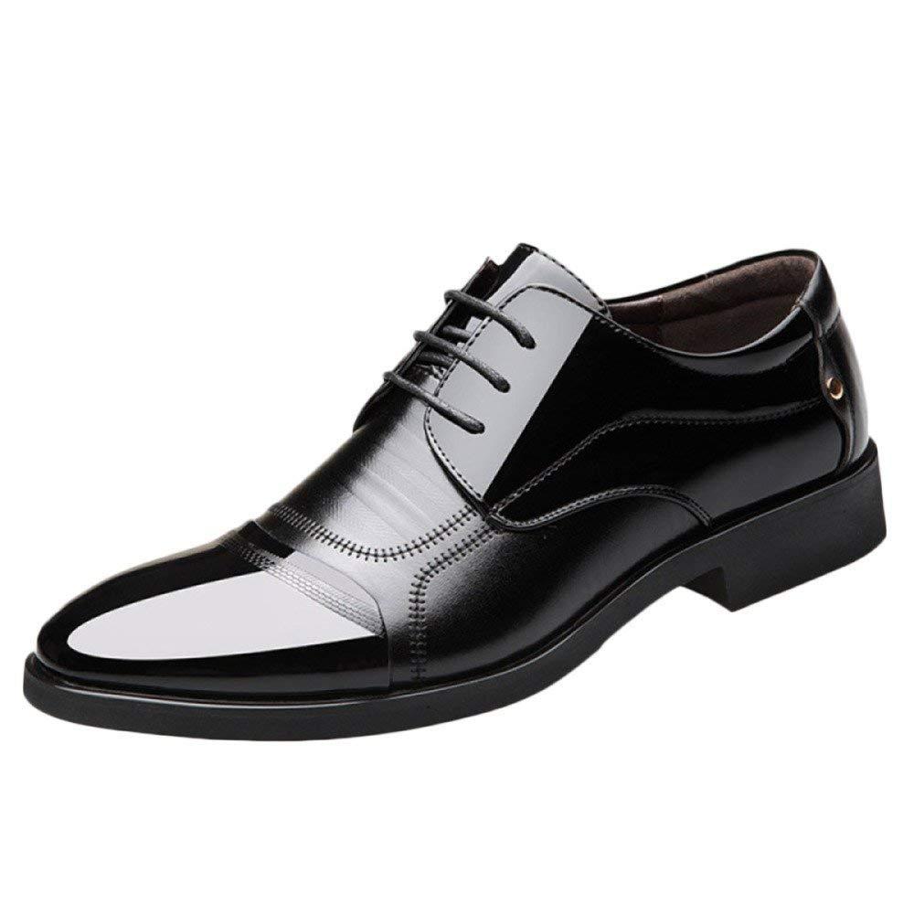 Eeayyygch Zapatos de Cuero de los Hombres Modelos de explosión Manual de Gran tamaño Caballo Negro y Blanco Guisantes Zapatos Moda Transpirable Casual ...