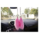 LuckySHD Car Charm Interior Decoration Rearview Mirror Plush Hanging Pendant - Pink