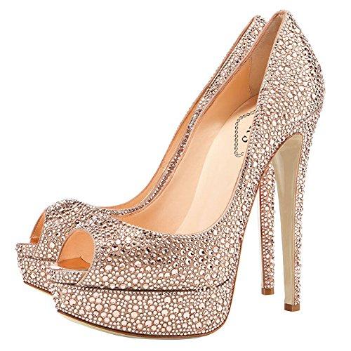 EKS - Zapatos con tacón Mujer Gold-Rhinestones