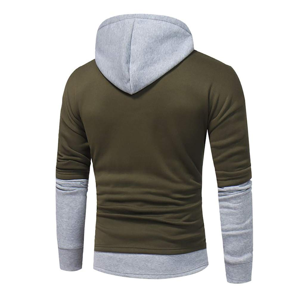 Dacawin Popular Mens Hoodie Long Sleeve Patchwork Warm Outwear Hooded Sweatshirt Tops Blouse
