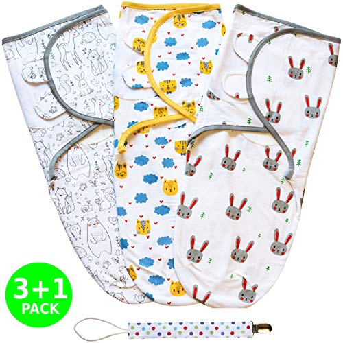 Baby Swaddle Wrap, Swaddle Blanket Set for Newborn or Infant up to 3 Months by Mama Cheetah, 3 Pack Premium Cotton with Bonus Pacifier Clip, Cute Animals
