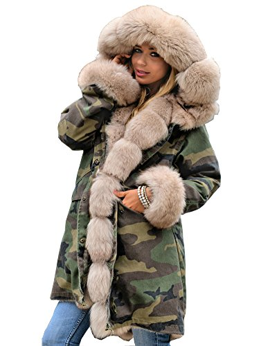 Price comparison product image Roiii Ladies Fur Collar Hooded Parka Military Camouflage Winter Warm Jacket Coat (Medium,  Army Green With Gold Fur)