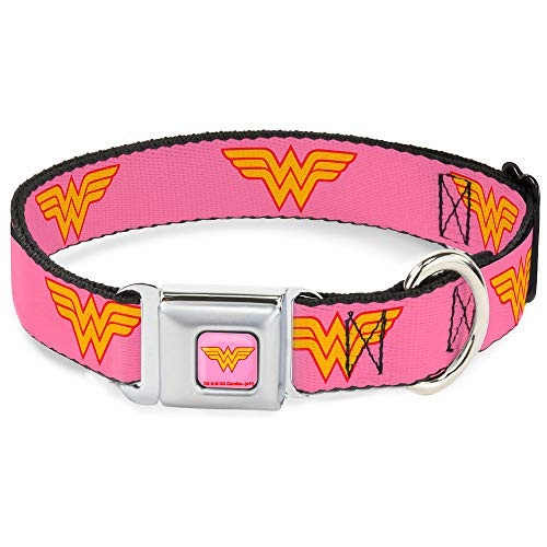 """Buckle Down Seatbelt Buckle Dog Collar - Wonder Woman Logo Pink - 1"""" Wide - Fits 15-26"""" Neck - Large from Buckle Down"""