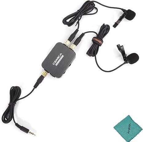CoMica CVM-D03 STC Micrófono Omni-Direccional Dual Cabeza Lavalier Solapa Micrófono para Type-C Smartphone, Ordenador & 3.5mm Smartphone con Andoer paño de Limpieza: Amazon.es: Electrónica
