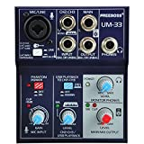 Freeboss UM-33 3 Channel Input Mic Line Insert Stereo USB Playback USB Interface Audio Mixer