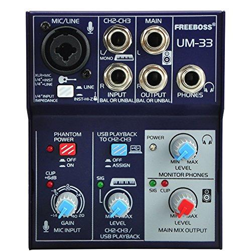 Freeboss UM-33 3 Channel Input Mic Line Insert