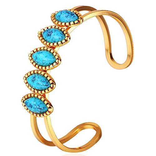 U7 Simple Cuff Bracelet 18K Real Gold Platinum Plated Fine Bangle Bracelet Fashion Jewelry (Style F3. Turquoise Gold)