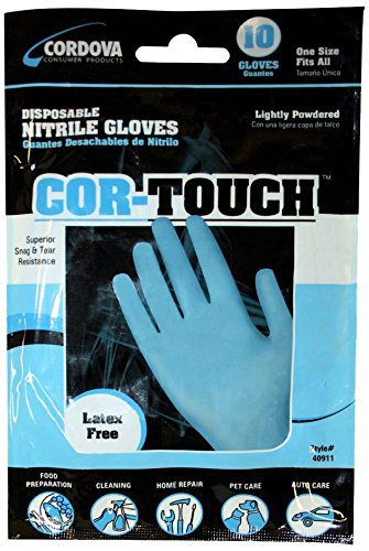 Cordova Safety Products 4091L Nitri-Cor 8 Mil. Industrial/Food Service Grade Powdered Disposable Gloves, Large