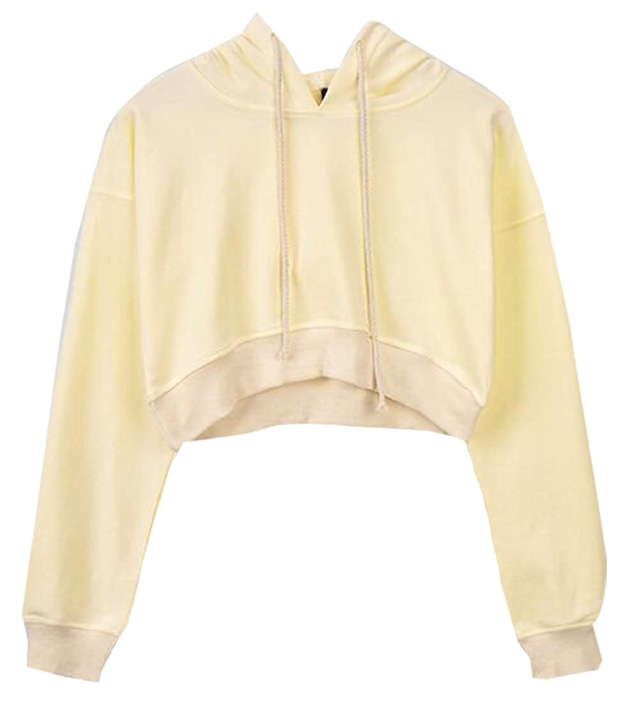 M/&S/&W Long Sleeve Cool Crop Top Hoodie Basic Sportwear Sweatshirt for Women