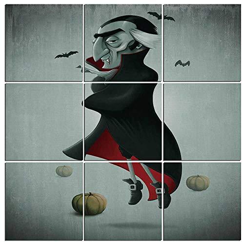iPrint 9 Pc Wall Art Set Vampire,Creepy Halloween Night Pumpkins and Old Vampire with Cape Flying Bats 9 Piece,48