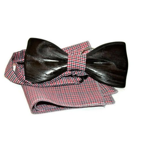 Wooden bow tie. Mens wooden bow tie with pocket square. Wood wedding bowtie. Wood bow tie. Oak wood bow tie for him.