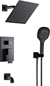 Matte Black Shower System Bathroom Rainfall Shower Faucet Set with Tub Spout Wall Mounted 8 Inch Shower Head and Handle Set with Handheld 3 Function Tub and Shower Trim Kit with Rough-in Valve