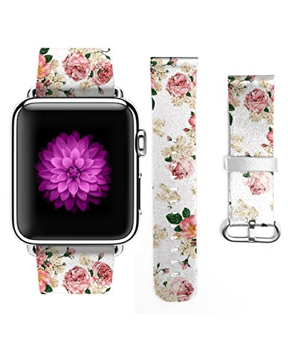 Apple Watch Strap iWatch Genuine Leather Replacement Watch Band Buckle Watch Strap Design for Apple Watch for Woman (42mm) Vintage Floral Pattern