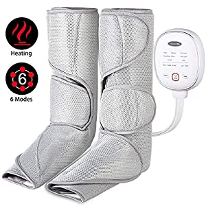iVOLCONN Leg Massager with Heat for Circulation and Relaxation Foot Massager Leg Wraps with Handheld Controller 3 Intensities and 6 Modes