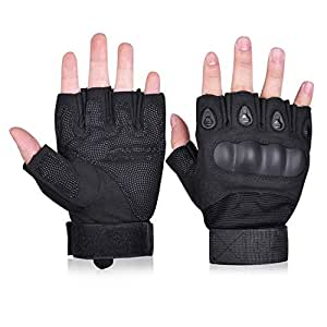 Taonology Tactical Shooting Gloves Half Finger with Hard Knuckle for Riding Motorcycle Airsoft Finger Light Gloves Military Army Police Combat Assault Tactical Gear 1 Pair(Black,M)