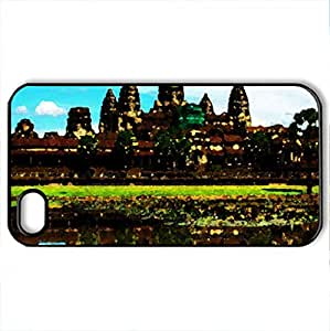 Angor Wat - Case Cover for iPhone 4 and 4s (Ancient Series, Watercolor style, Black)