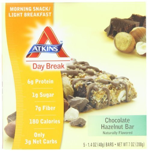Atkins Day Break, Chocolate Hazelnut Bar, 1.40 oz Bars, 5 count box ( pack of 2) Personal Healthcare / Health Care