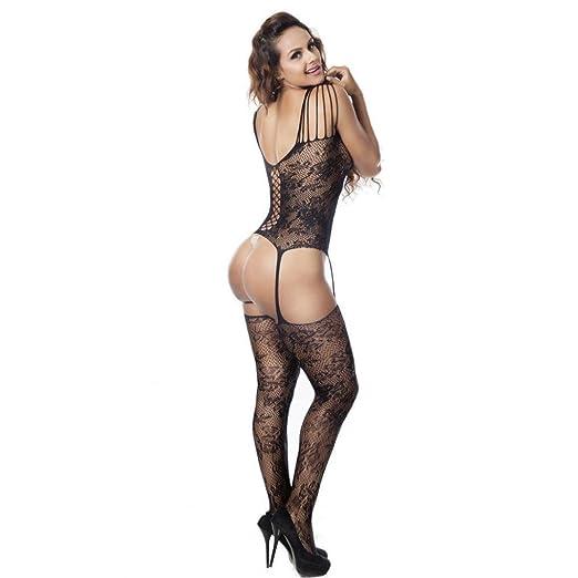ce5b481efc2 Fishnet Bodystocking Sexy Lingerie Babydoll Crotchless Teddy Nightie  Bodysuit Plus Size for Women Black (Free
