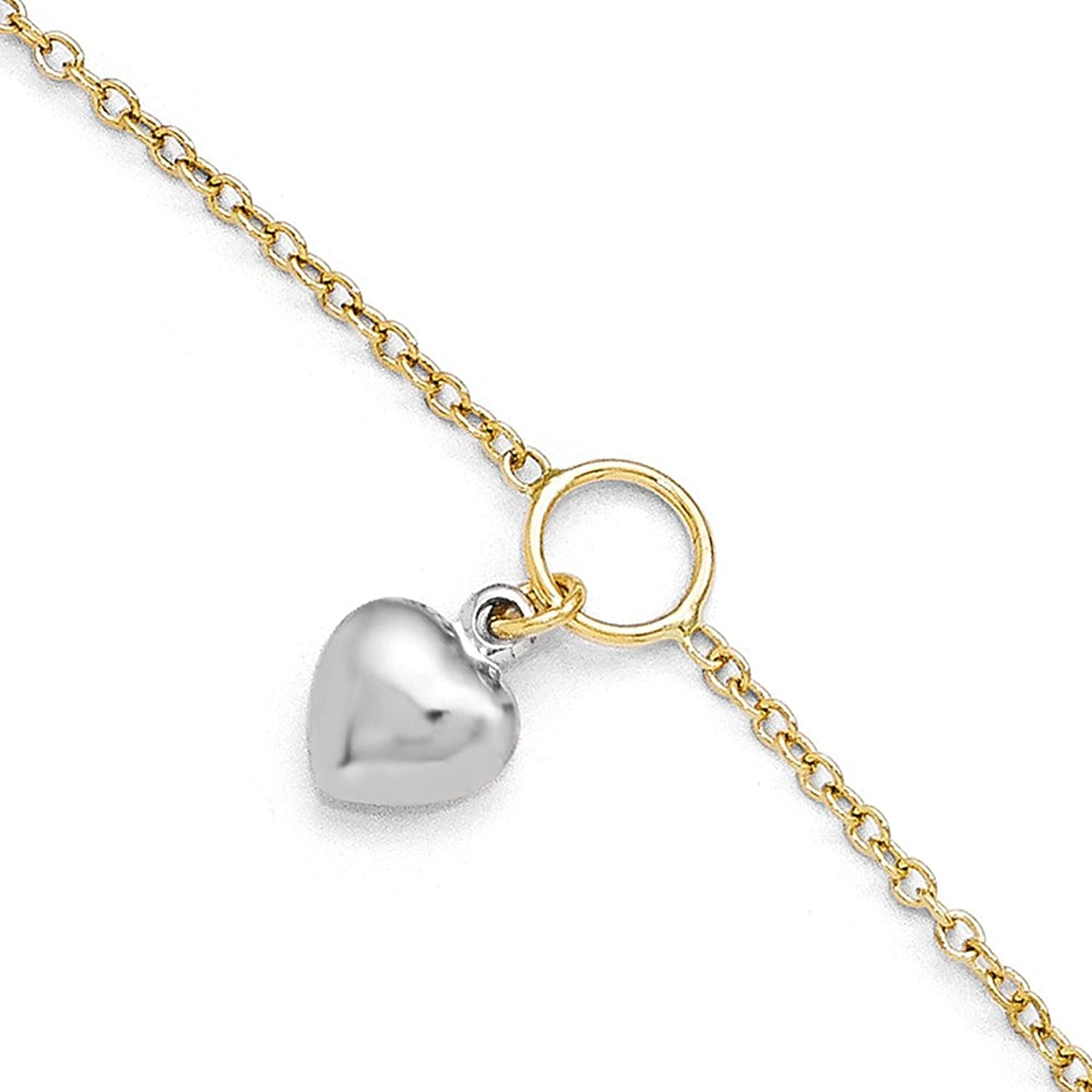 Italian 14k Two-Tone Gold Polished Heart Anklet with 1in ext - 10 inches