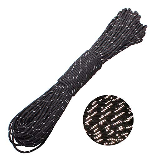 GeGeDa Reflective Paracord Parachute Cord 550 Paracord 100 feet 9 Strand Tent Rope Great for Outdoor Camping and Bracelet Braiding ()