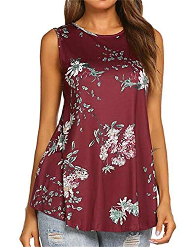 Tobrief Women Sleeveless Floral Print Swing Tunic Tank Tops (L, Wine Red) (Flower Print Swing)
